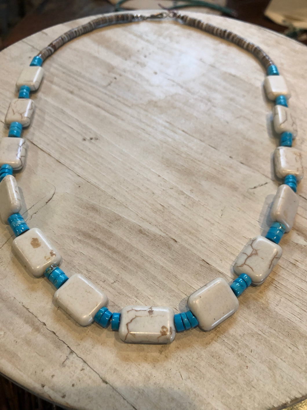 Geometric White Buffalo With Rolled Turquoise and Shell Heishi Beads