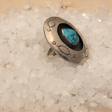 Load image into Gallery viewer, Large Sterling and Turquoise Shadow Box Ring