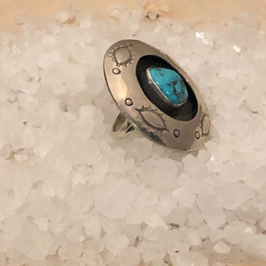 Large Sterling and Turquoise Shadow Box Ring