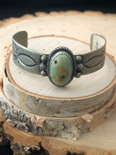 Load image into Gallery viewer, Green Turquoise with Stamp Cuff
