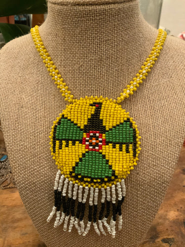 Vintage Beaded Thunderbird Necklace