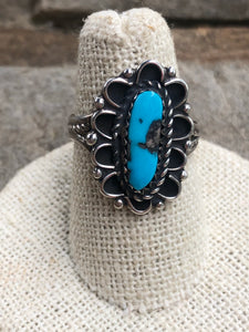 Vintage Floral Turquoise and Sterling Silver Ring