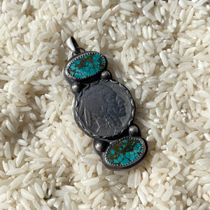 Turquoise and Nickel Pendant