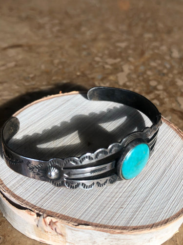 Fred Harvey Turquoise and Sterling Silver Cuff