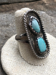 Vintage Double Cabochon rope ring