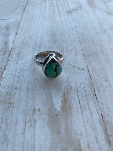 Small tear drop turquoise ring