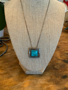 Square Turquoise Necklace