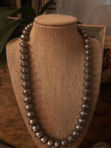 12 MM Stamped Seam Bead Necklace
