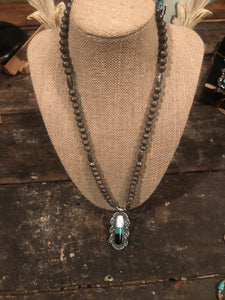 Turquoise, MOP, Onyx Navajo Pearl Necklace