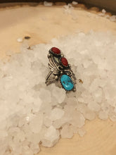 Load image into Gallery viewer, Turquoise and Coral Ring