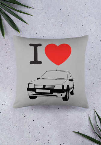 Coussin I Love Peugeot 205 GTI - XR11 Auto Rallye Sport Automobile Pilotage Youngtimers
