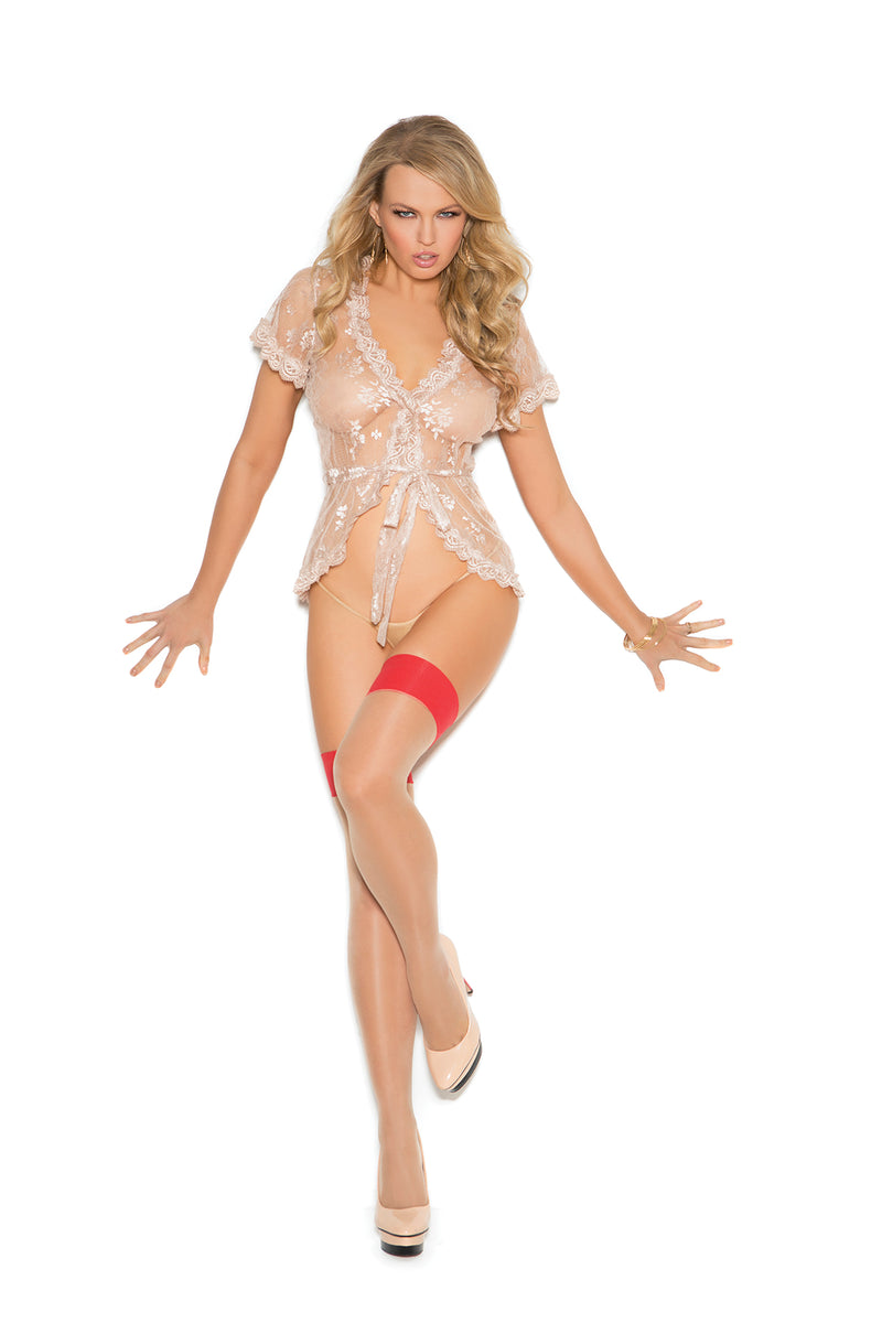Elegant Moments 1110 Sheer Cuban Nude and Red Stockings