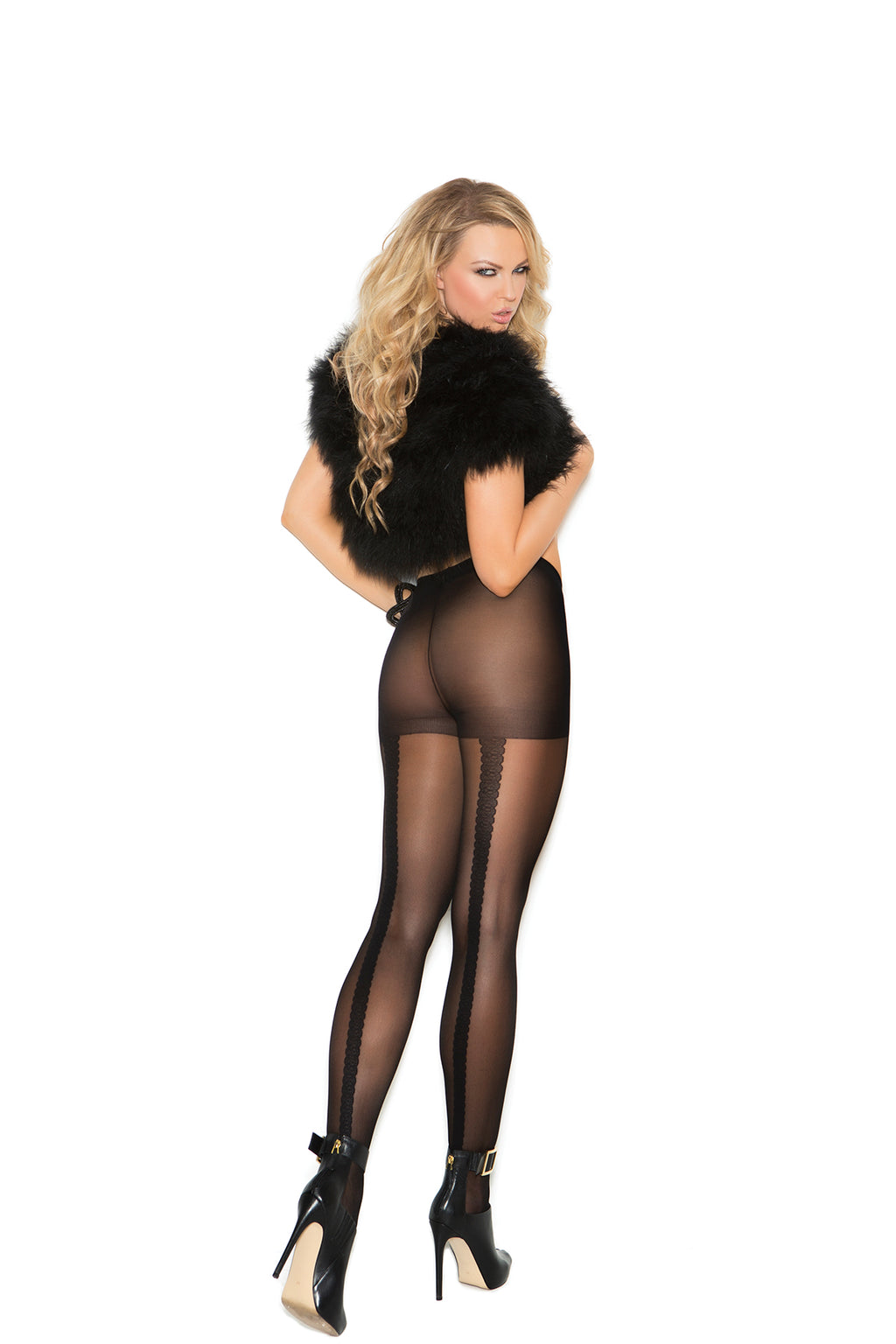 Elegant Moments 1134 Sheer Black Tights with Woven Lace Back Seam