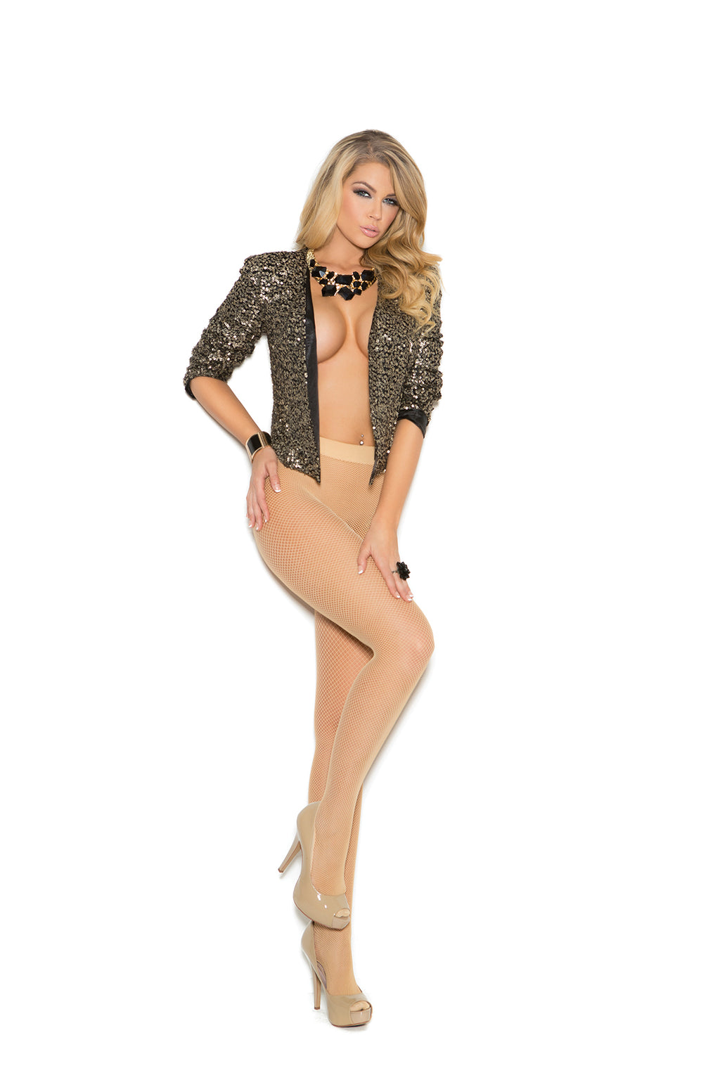 Elegant Moments 1156 Nude Fishnet Tights with Padded Foot