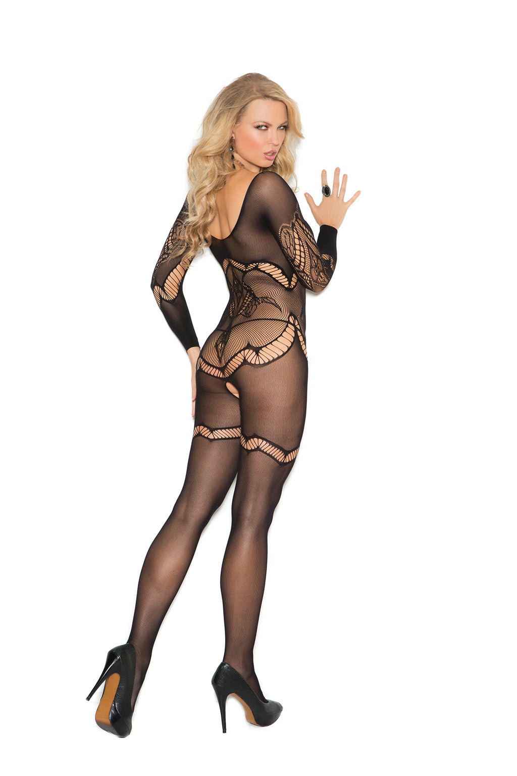Elegant Moments 1289 Long Sleeve Black Crochet Floral Bodystocking