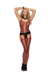 Elegant Moments 1301 Burgundy Fishnet Suspender Bodystocking