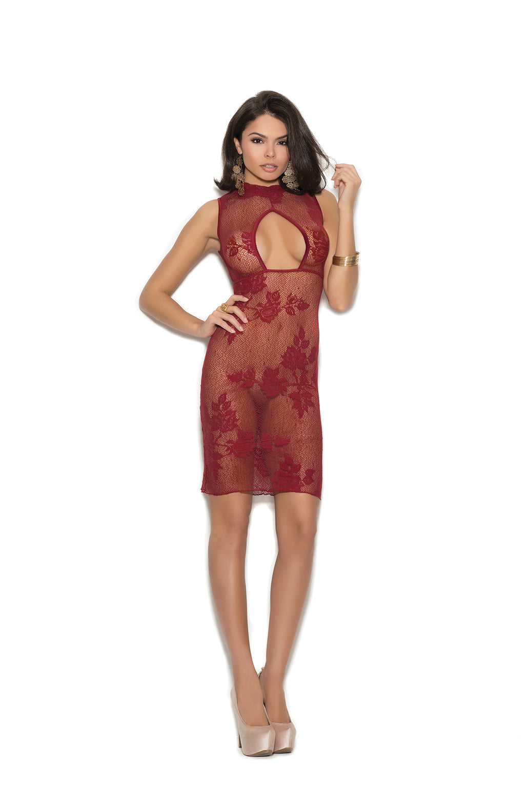 Elegant Moments 1369 Burgundy Lace Dress with Keyhole Front