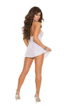 Elegant Moments 1422 White Lace Mini Dress