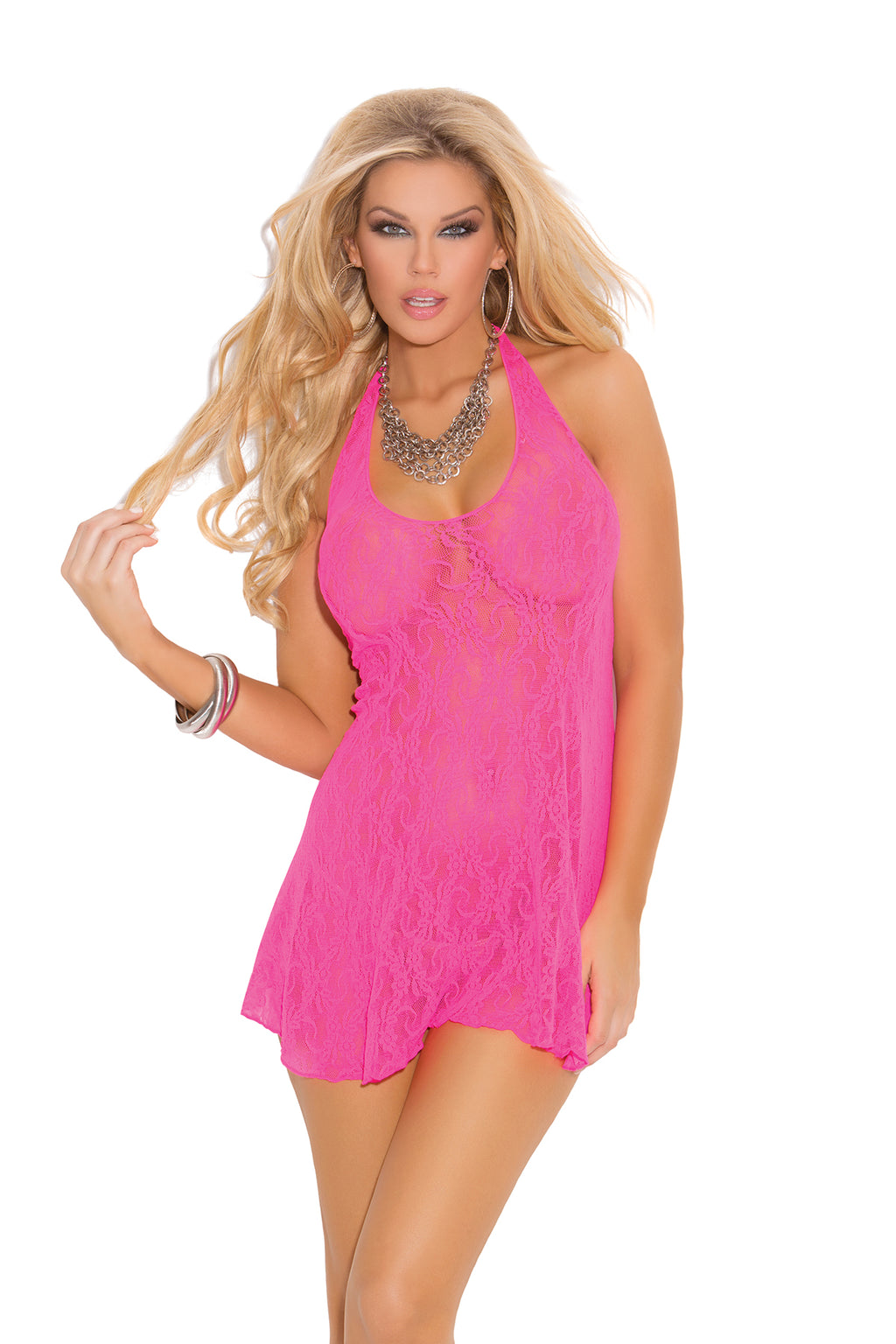 Elegant Moments 1422 Neon Pink Lace Halter Mini Dress