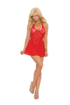 Elegant Moments 8338 Red Deep-V Mini Dress