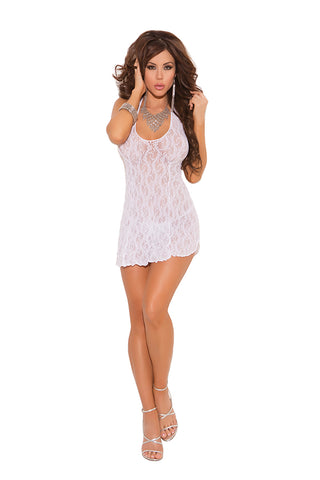 Elegant Moments 1525 Diamond Net Camisette G-String & Stockings