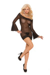Elegant Moments 8559 Queen Size Black Deep-V Mini Dress