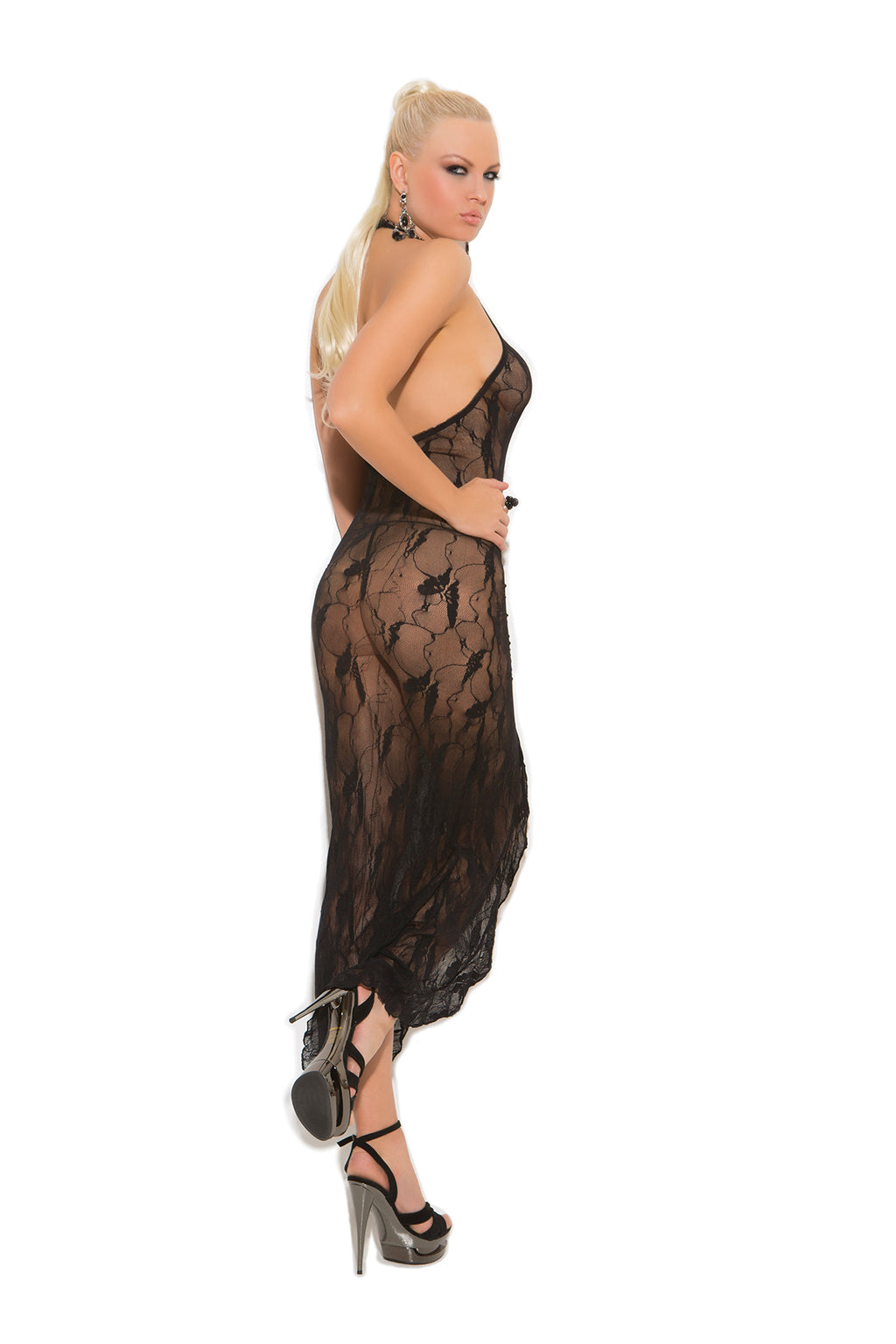 Elegant Moments 1442 Black Lace Butterfly Dress