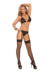 Elegant Moments 1610 Black Rose Lace Bodystocking
