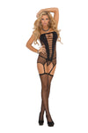 Elegant Moments 1769 Black Fishnet Stockings with Vinyl Top