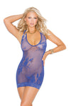 Elegant Moments 1564 Royal Blue Lace Halter Mini Dress
