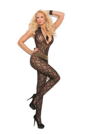 Elegant Moments 1608 Black Deep-V Lace Bodystocking