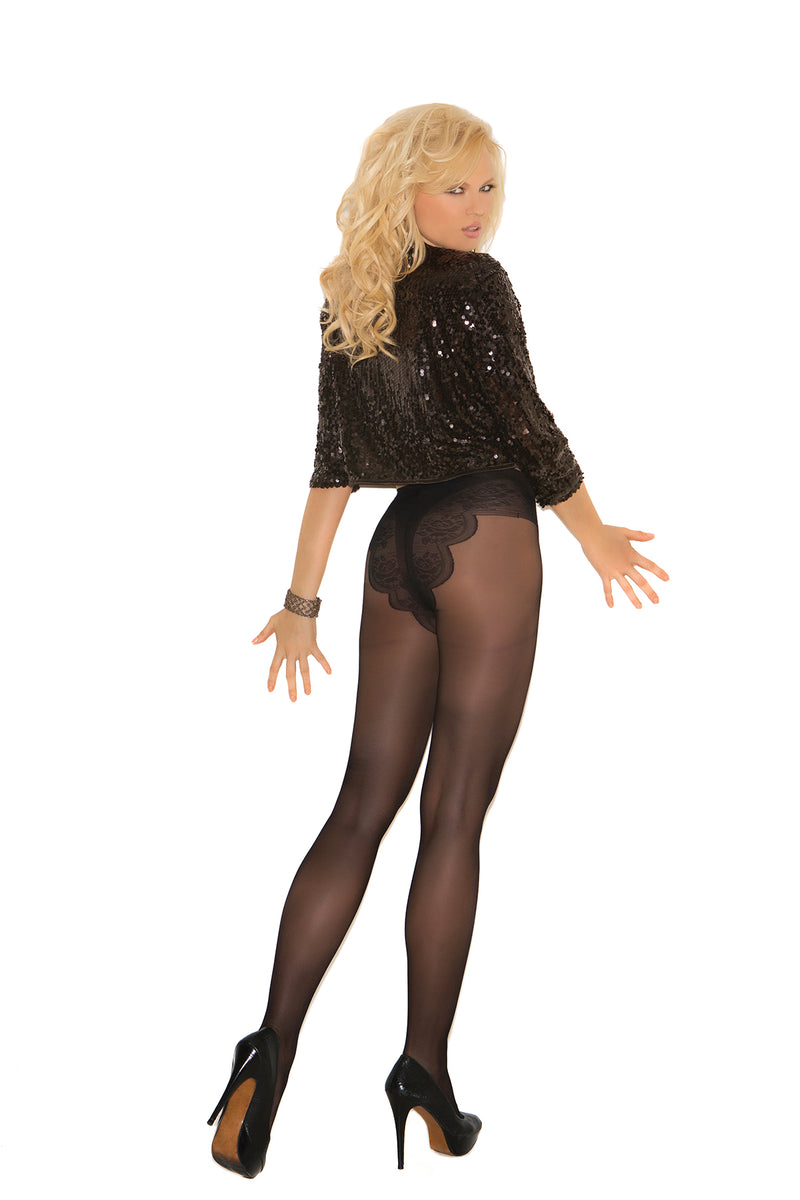 Elegant Moments 1715 Black French Cut Tights