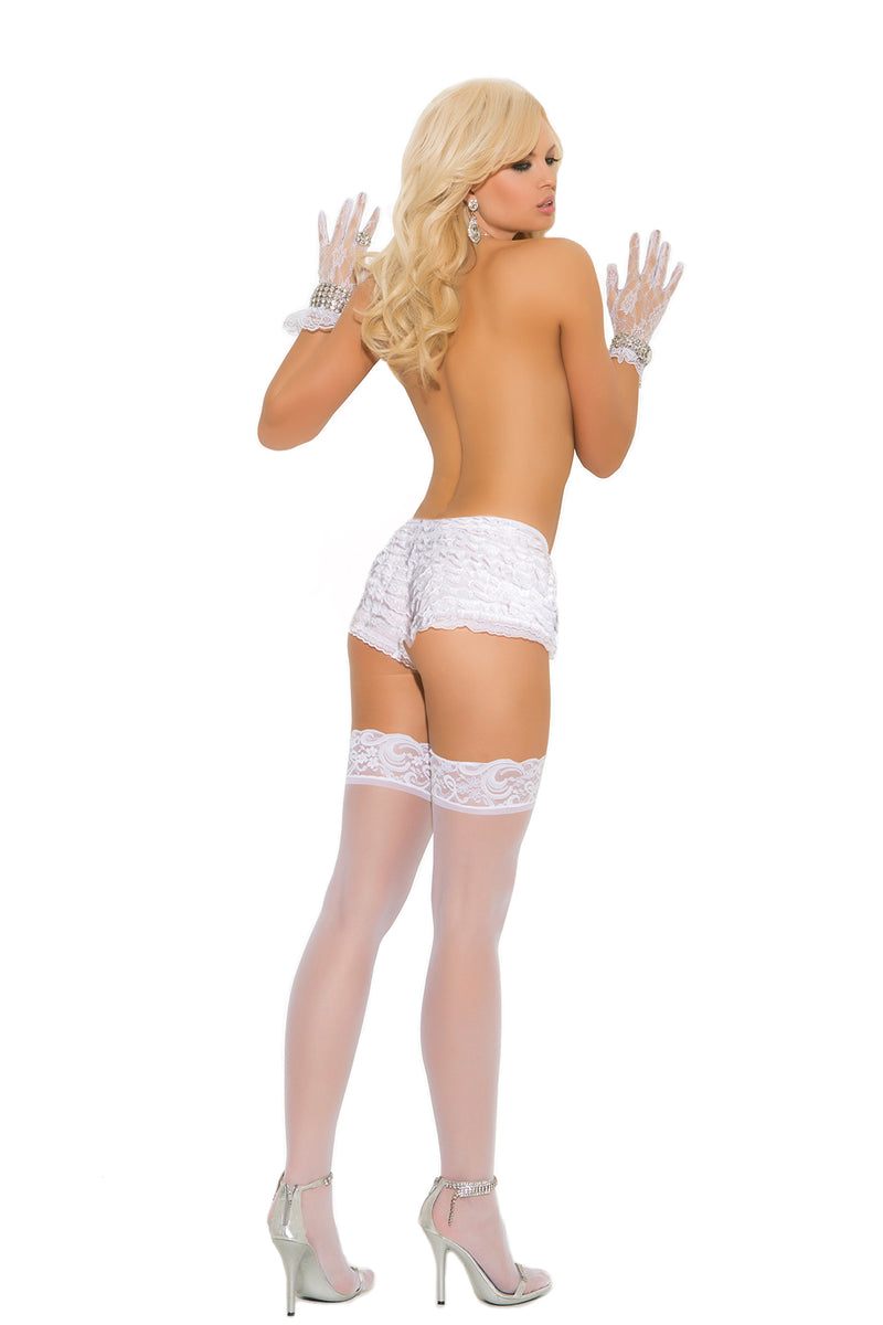 Elegant Moments 1721 White Sheer Lace Top Stockings