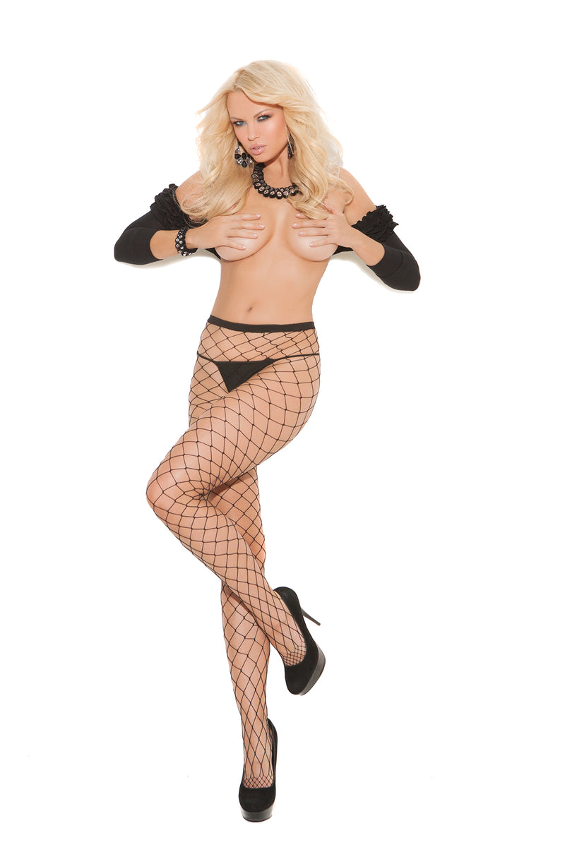 Elegant Moments Lingerie Black Diamond Net Tights 1736
