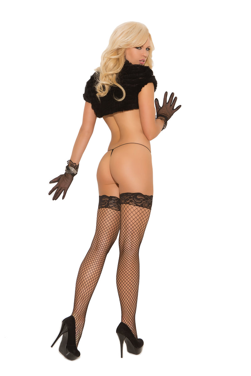 Elegant Moments 1757 Fishnet Stockings with Lace Top