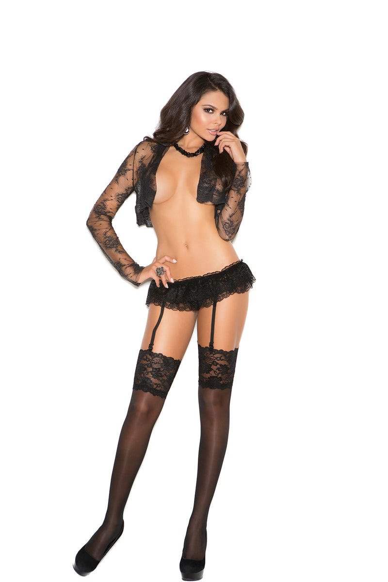 Elegant Moments 1836B Black Sheer Thigh High Stockings