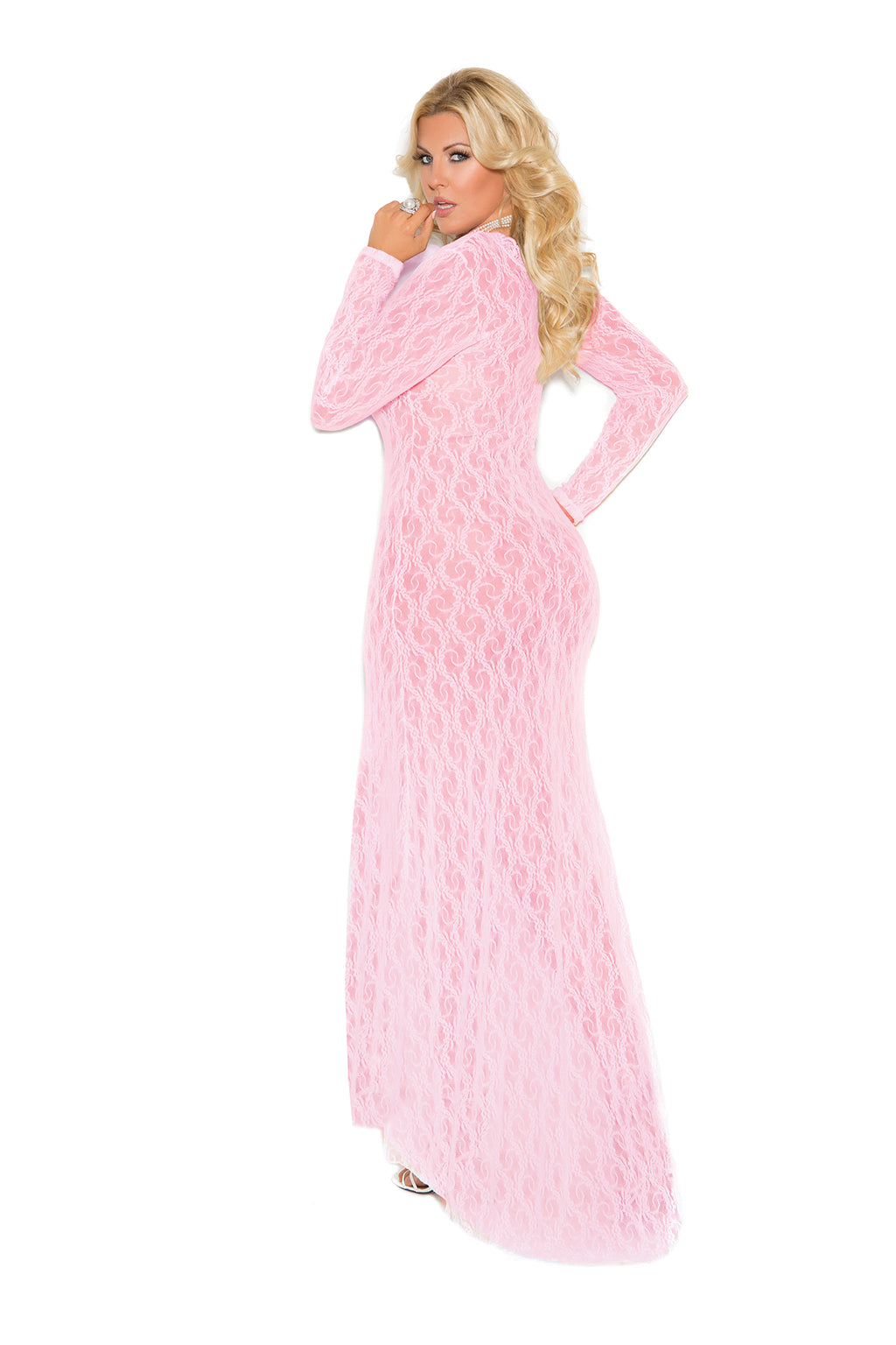 Elegant Moments 1949 Baby Pink Long Sleeve Lace Dress