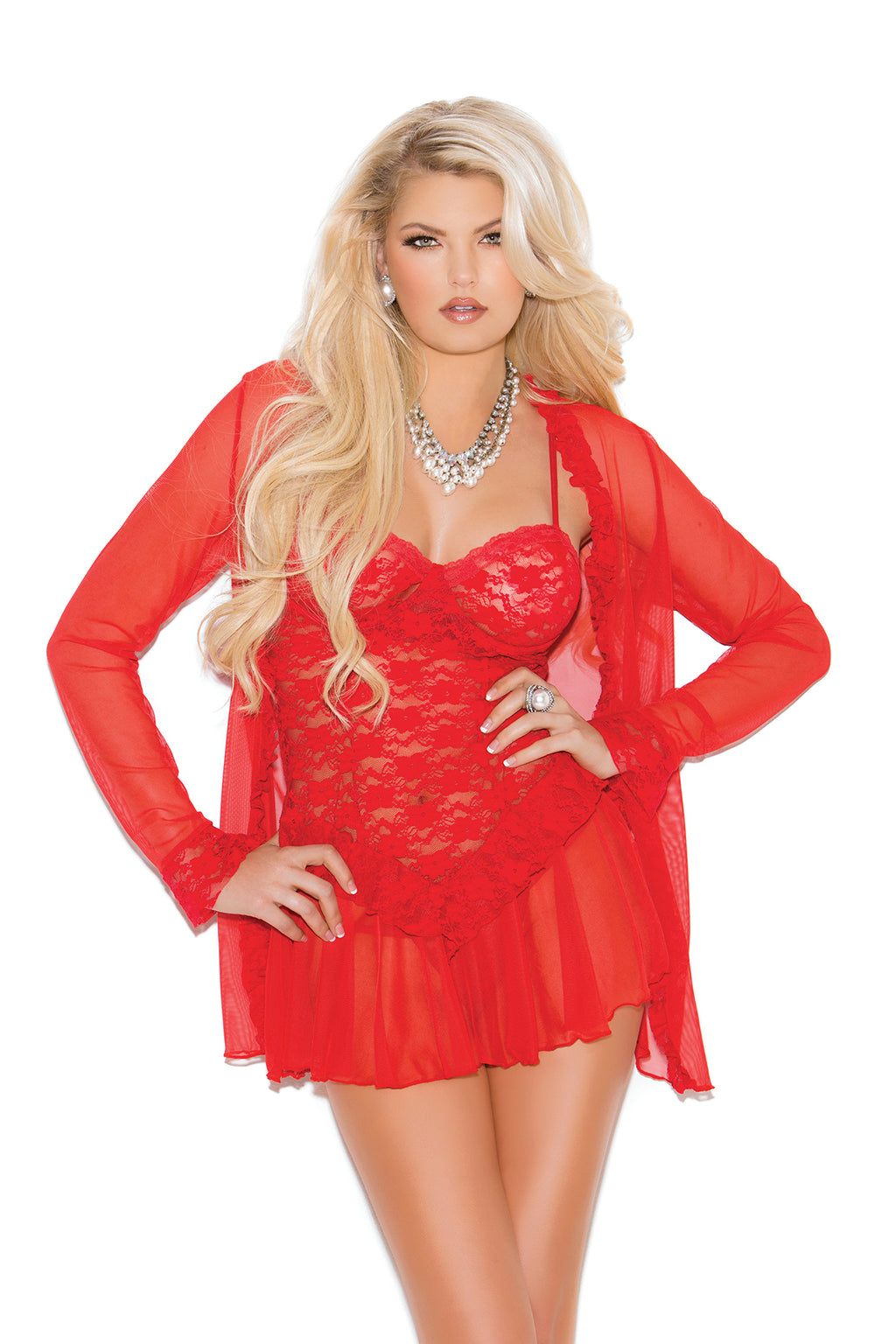 Elegant Moments 4088 Red Lace Babydoll with Jacket and G-String