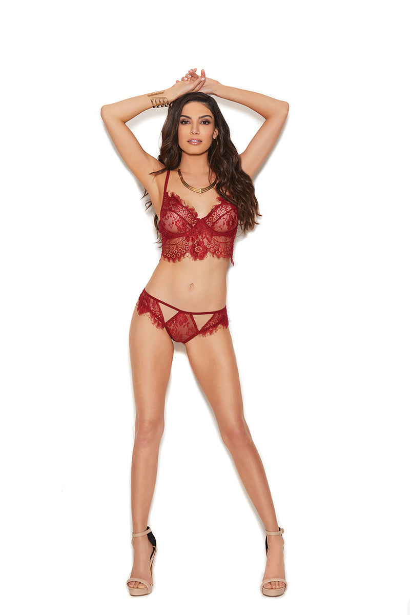 Elegant Moments 55016 Burgundy Lingerie Set