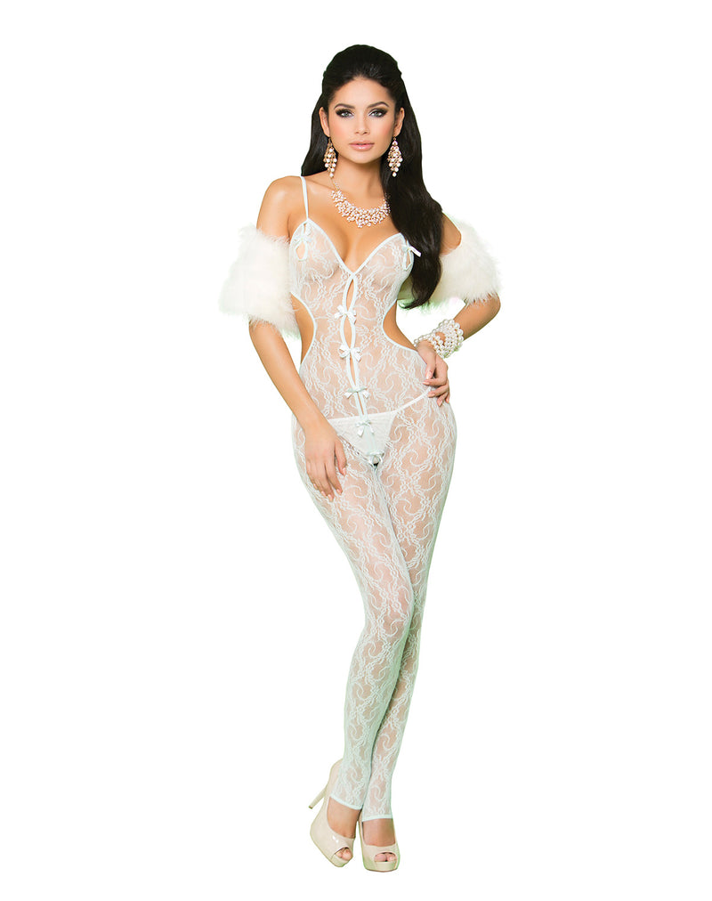 Elegant Moments Lingerie Mint Green Lace Bodystocking With Open Crotch 81227