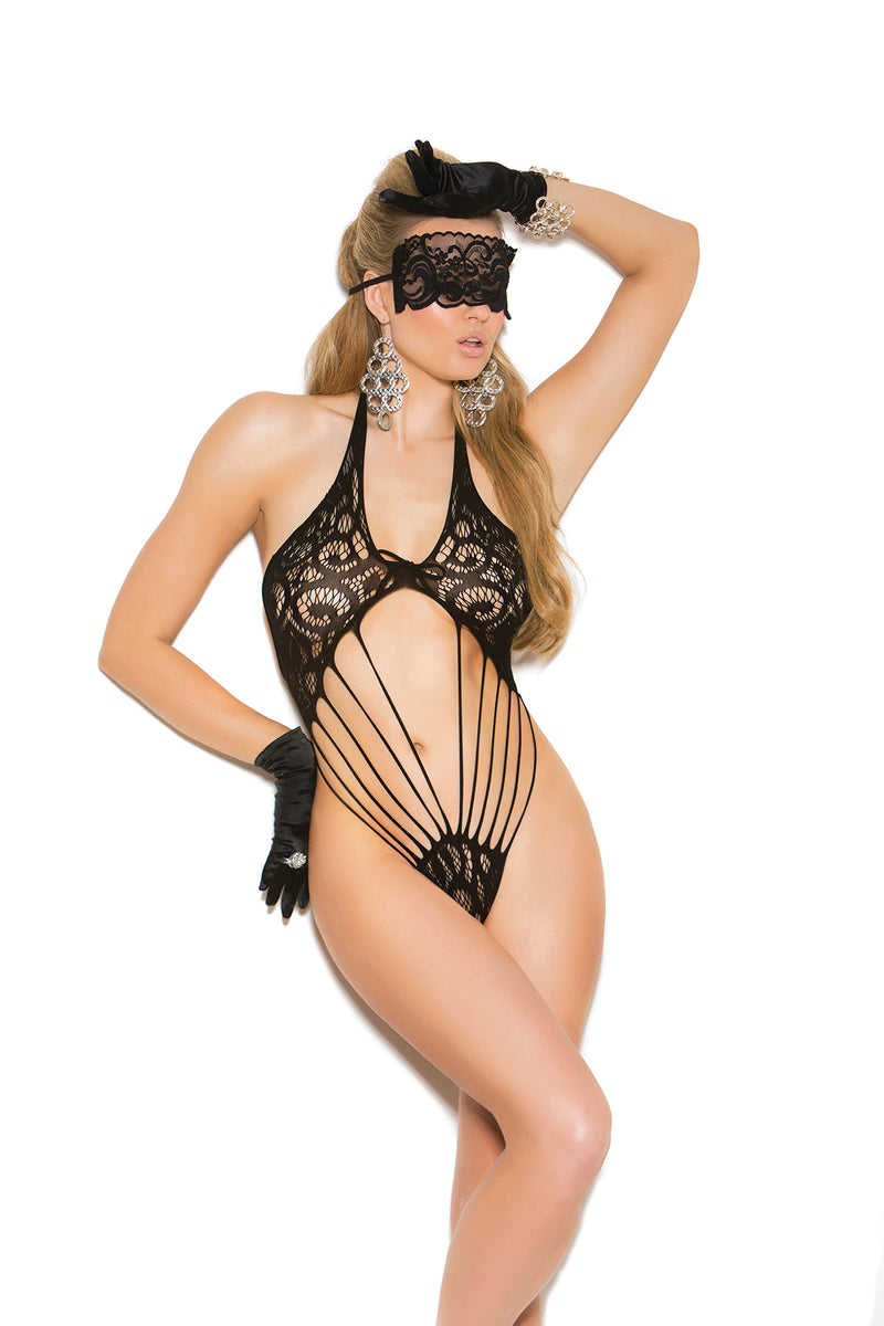 Elegant Moments Lingerie Black Lace Teddy Matching Eye Mask 81270