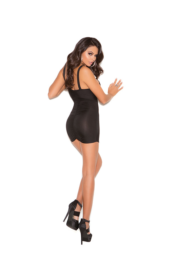 Elegant Moments 8213 Black Ruched Mini Dress