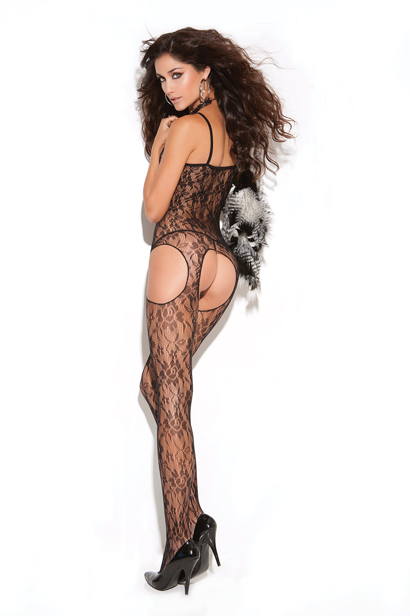 Elegant Moments 8502 Black Lace Suspender Bodystocking