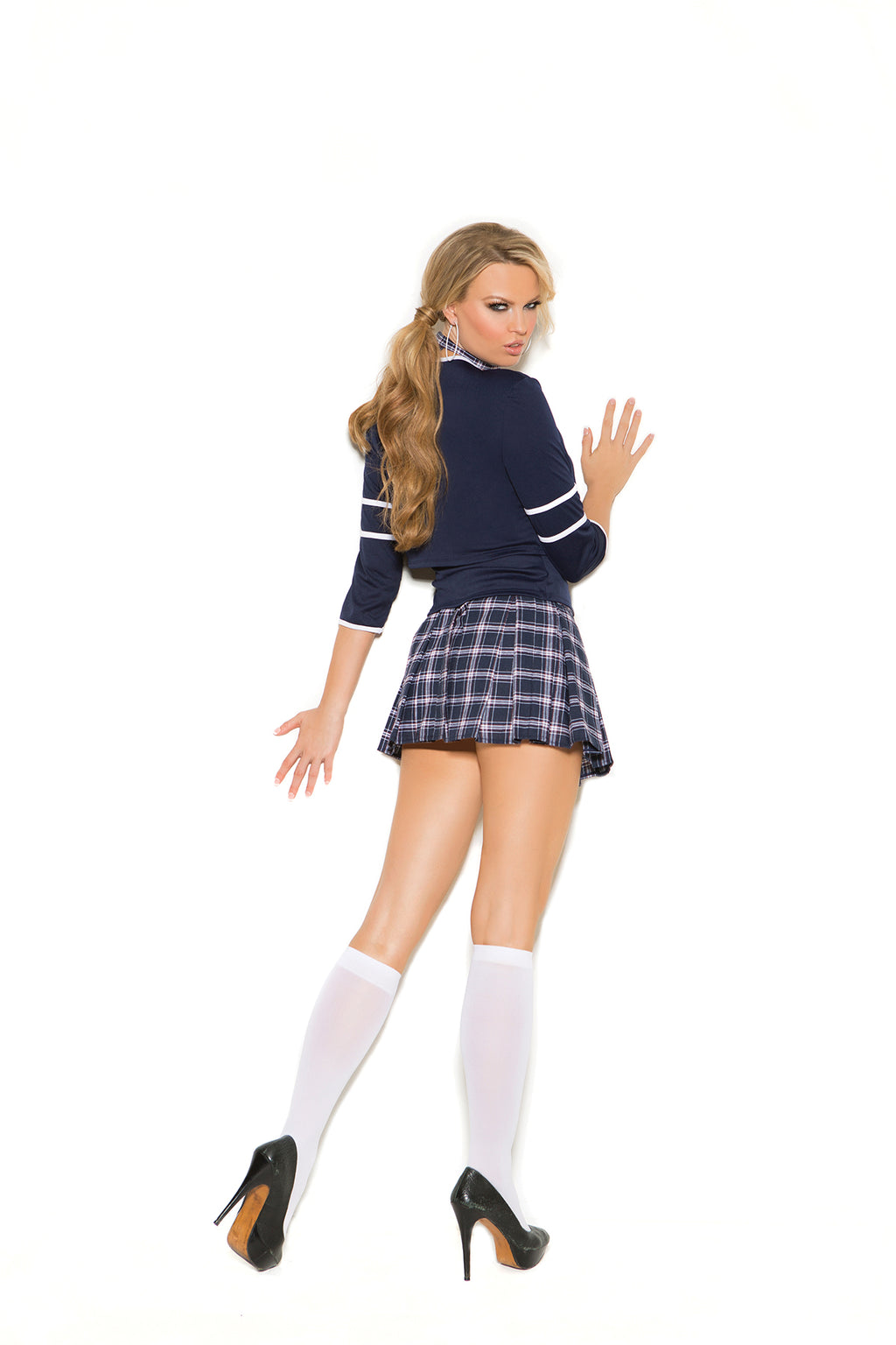Elegant Moments 1502 White Opaque Knee High Socks