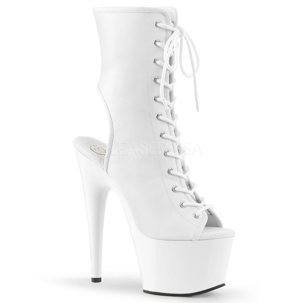 Adore 1016 White Faux Leather Lace Up Peep-Toe Platforms