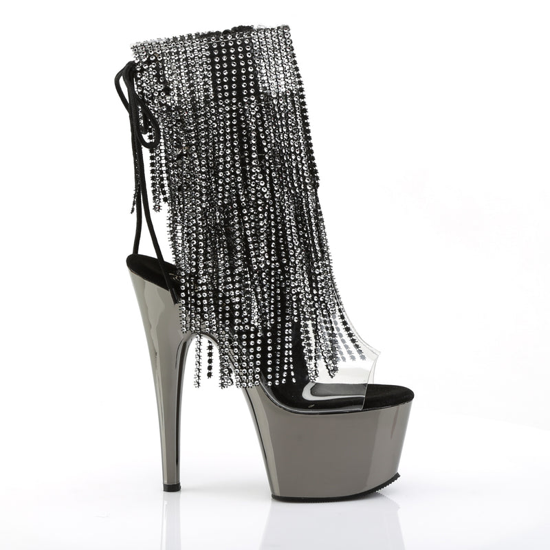 Adore 1017RSF Black and Dark Pewter Chrome Platform Ankle Boot