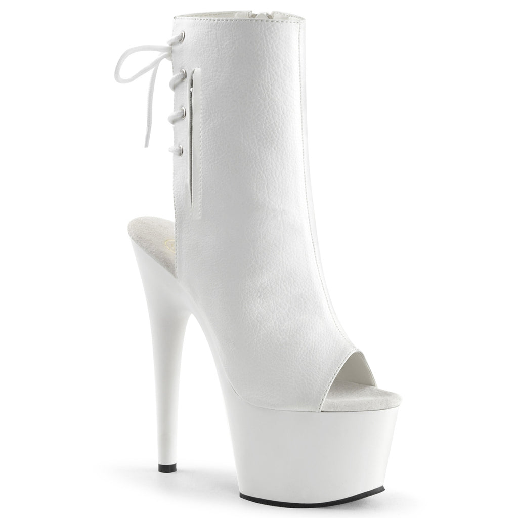 Adore 1018 White Faux Leather Ankle Boots
