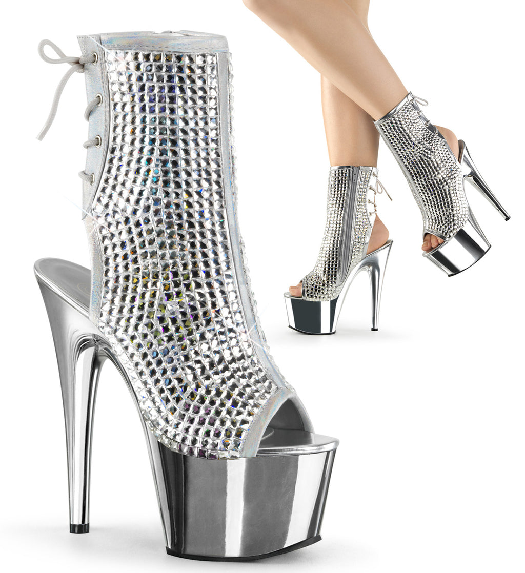 Adore 1018 Multicolour Rhinestone and Chrome Mirrored Ankle Boots