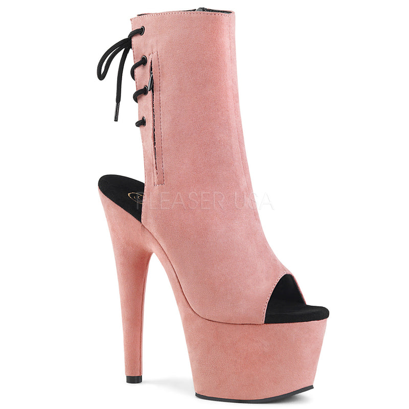 Adore 1018 Baby Pink Suede Peep Toe Ankle Boots