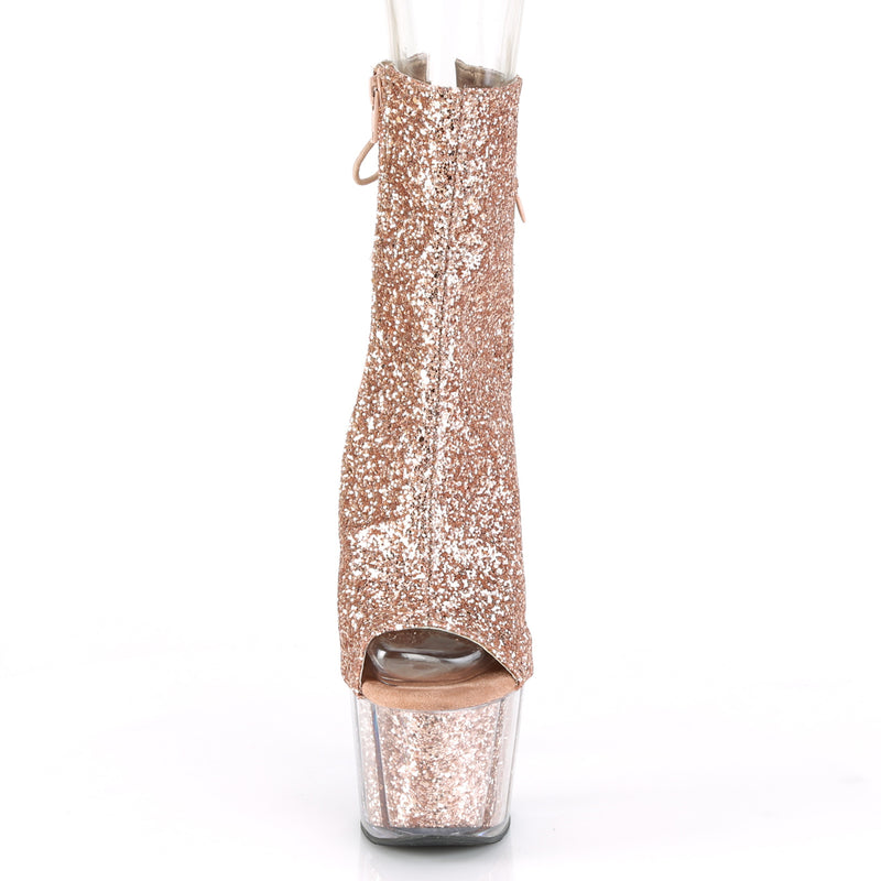 Adore 1018G Rose Gold Sparkly Platform Ankle Boots